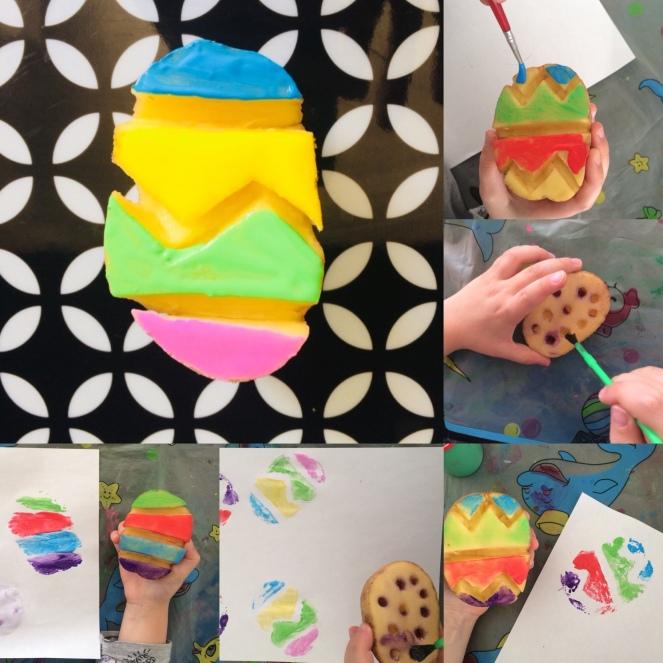 Peindre Des œufs De Paques Avec Des Pommes De Terre Mamande And Co Mamande And Co